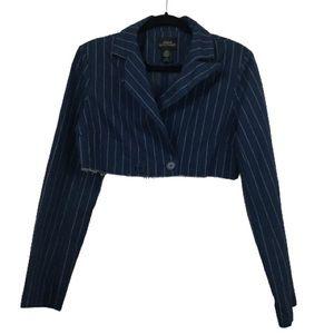 UO Cropped Pinstripe Blazer Jacket in Denim Blue